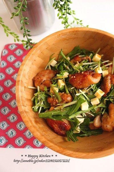 デリ風!チキンと水菜の胡麻だれチーズサラダ   たっきーママ オフィシャルブログ「たっきーママ@happy kitchen」Powered by Ameba