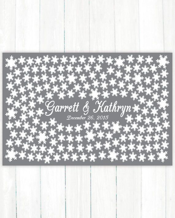 Wedding Guest Book Alternative Art Print Custom Snowflakes Wedding Guest Book Poster Signature Snowflake Winter Guestbook 175 Guests Bridal Shower Gift Present by Caldson Designs