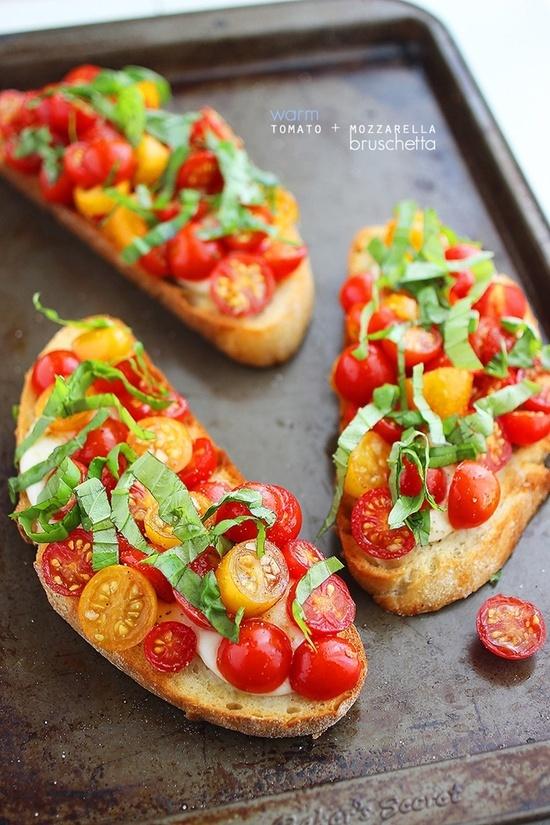 Warm Tomato  Mozzarella Bruschetta