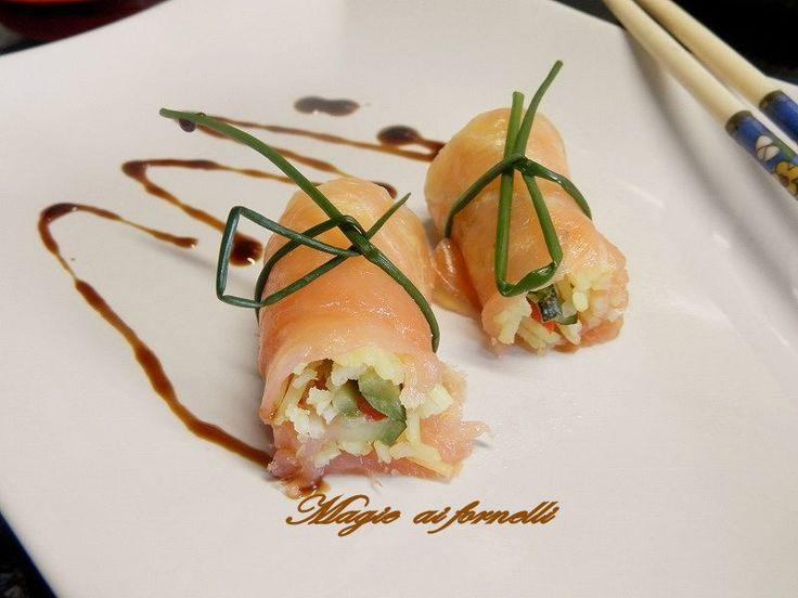 Involtino finto Sushi con glassa gastronomica alla soia