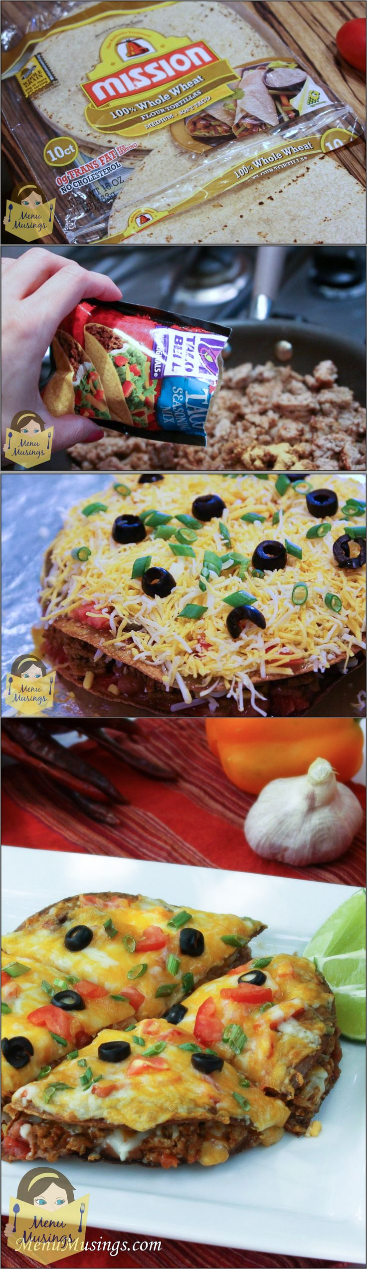 Skinny Mexican Pizza - a favorite of my teens. No one will know it's turkey!! Over 65K views! Step-by-step photos! <3