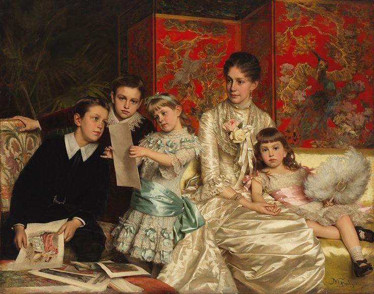 1880 Michele Gordigiani - Cornelia Ward Hall and Her Children: