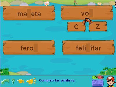 Jugando con la ortografía C-Z #ninos #educacion #Primaria #escribir #palabras #vocabulario