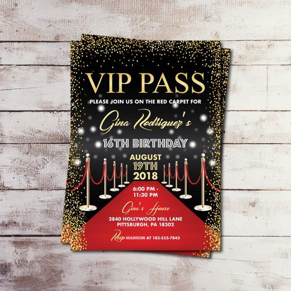 EDITABLE Printable VIP Pass Birthday Invitation Hollywood