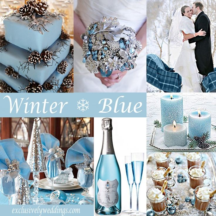 PERFECT winter wedding color scheme of light blue and silver.  the brooch bouquet is breath taking!!