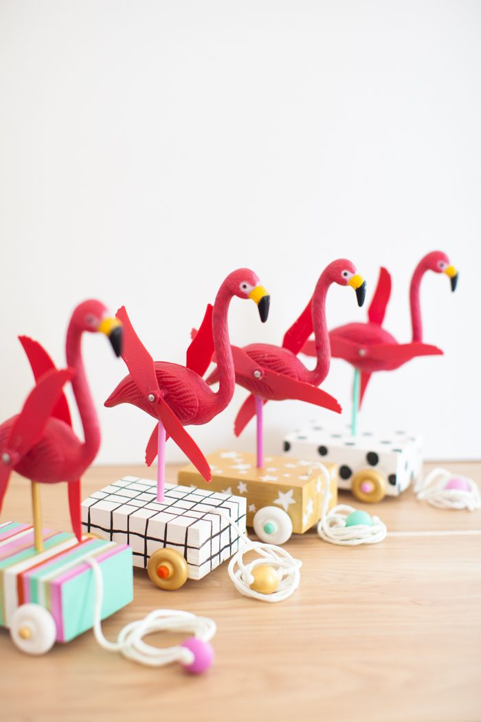 a DIY gift for a child - flamingo pull toy