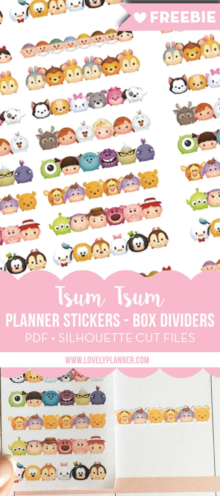 Free printable Tsum Tsum box dividers stickers for your planner (Happy Planner, Erin Condren Life Planner...): PDF & Silhouette cut files included. More planner freebies on LovelyPlanner.com
