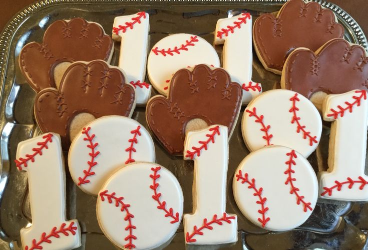 First Birthday Baseball Decorated Sugar Cookies by I Am the Cookie Lady