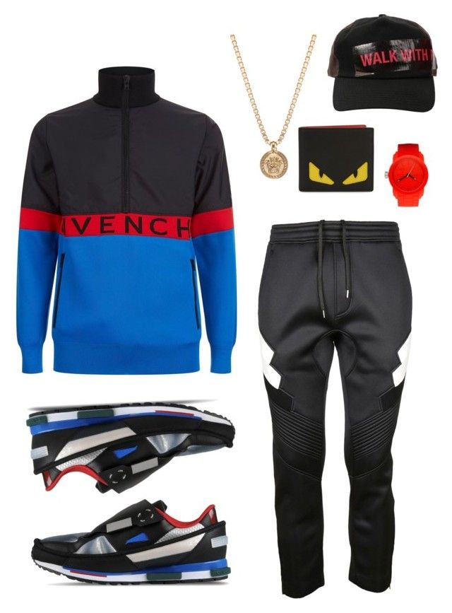 """Untitled #56"" by stylemezamar on Polyvore featuring Diesel, Versace, Neil Barrett, Givenchy, Fendi, Raf Simons, men's fashion and menswear"