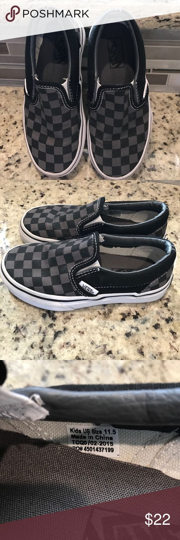 Child's Vans checkerboard slip on shoes. NWOT Vans shoes. Children's size 11.5. Gray & black checks, black and white rubber soles. Never worn. No box so I couldn't return them. Smoke free home. Vans Shoes Sneakers