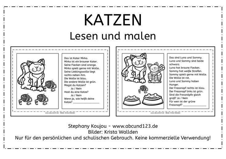 Katzen: Lesen und malen