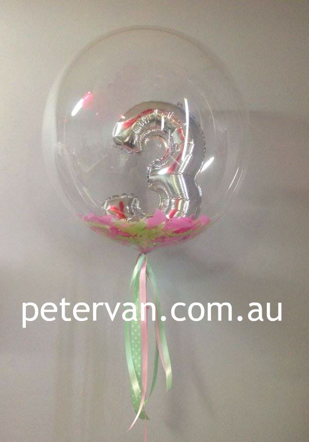 Gorgeous numbers inside a bubble balloon #bespoke #balloons #three | Peter Van