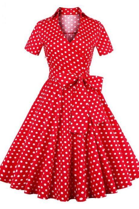 50s Vintage Rockabilly Polka Dots Dress Red Dress Mid-Length Dress Cocktail Dress Party Dress