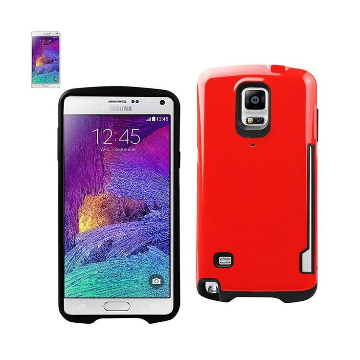 Reiko Dual Color Tpu+Pc Cover For Samsung Galaxy Note 4 N910V/ N910P/ N910T/ N910R4 Red With Side Card Holder