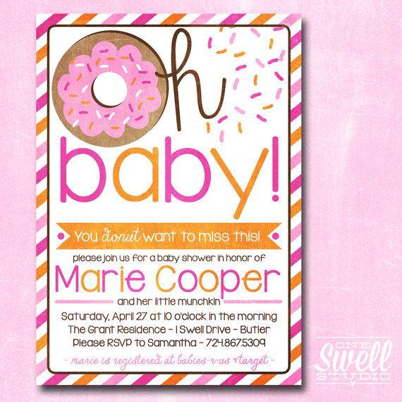 Oh Baby Donut/Doughnut Breakfast/Brunch Baby Shower Invitation by oneswellstudio, $12.50
