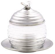 "Pewter Beehive Honey Jug / Glass Jar  / Jam Set/ 4.5"""