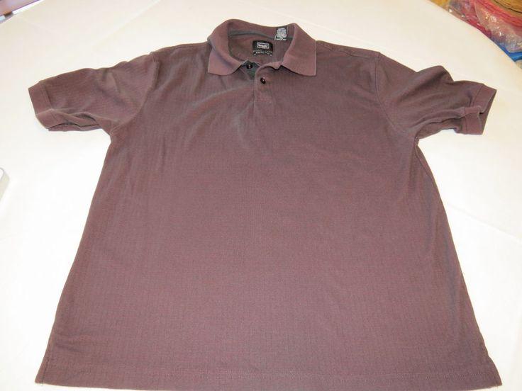 Mens Haggar Swift Dry active school work polo shirt burgandy black M medium #Haggar #PoloShirt