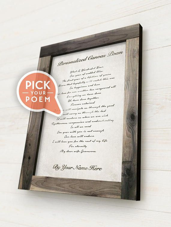 Framed Personalized Poem On Canvas With A Solid Wood Rustic Frame