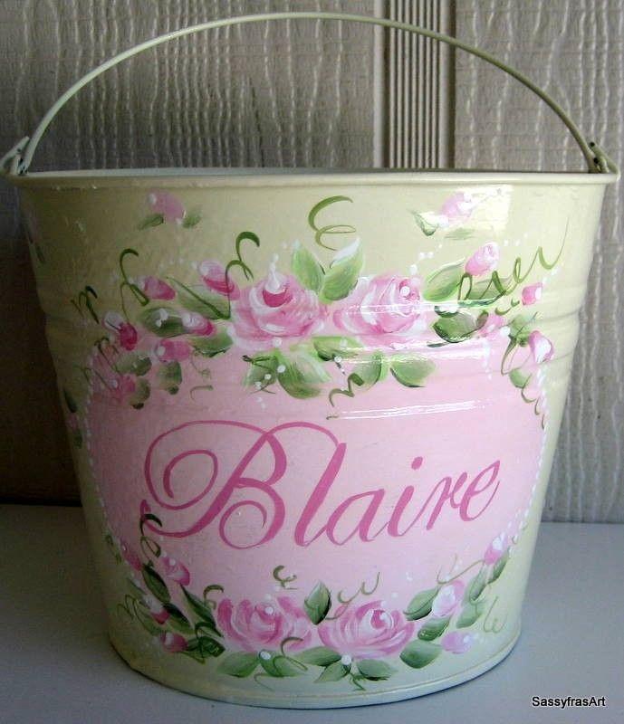 Hand Painted Shabby Chic Easter Basket/Bucket by SassyfrasDesignz, $28.99