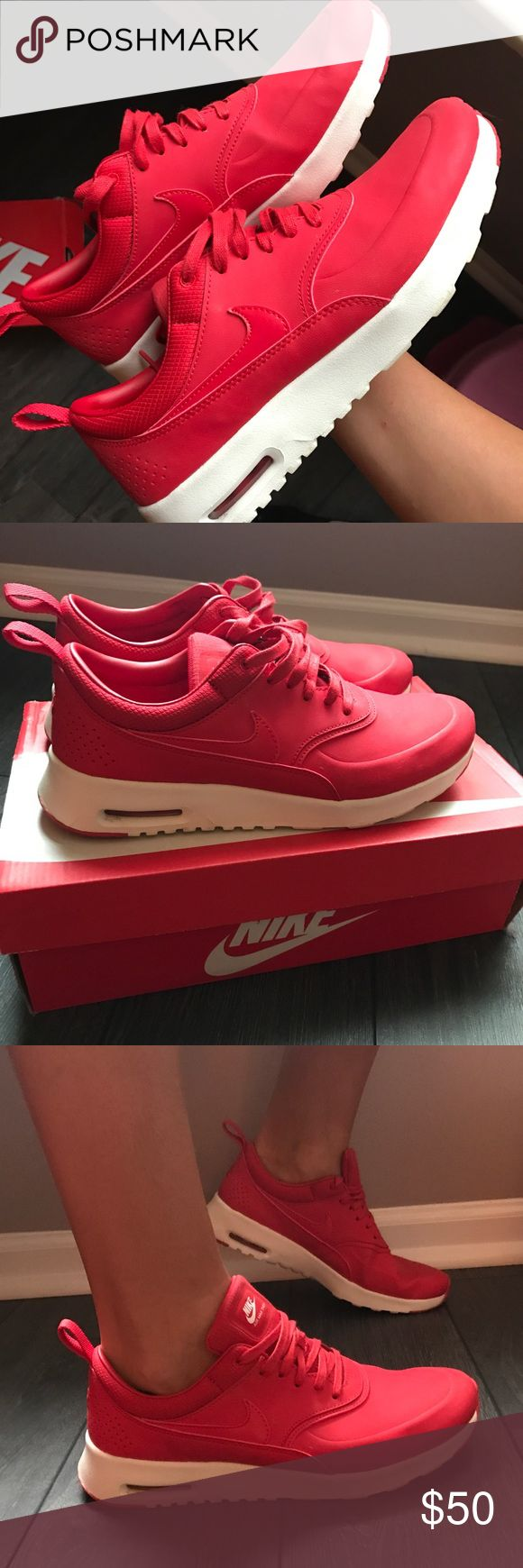 Women's Nike Airmax Thea Gym Red Size 8.5 Ladies, these shoes are sure to grab your attention! I purchased these shoes and unfortunately my foot has changed sizes and they are too big on me now. They are in great condition- worn about 3-5 times only. See photos to notice the clean bottoms and no scuffs on the body of the shoes. Purchased originally from footlocker for $99. Goes great with casual attire or wearing them to the gym. I own these shoes in several colors- they are extremely…
