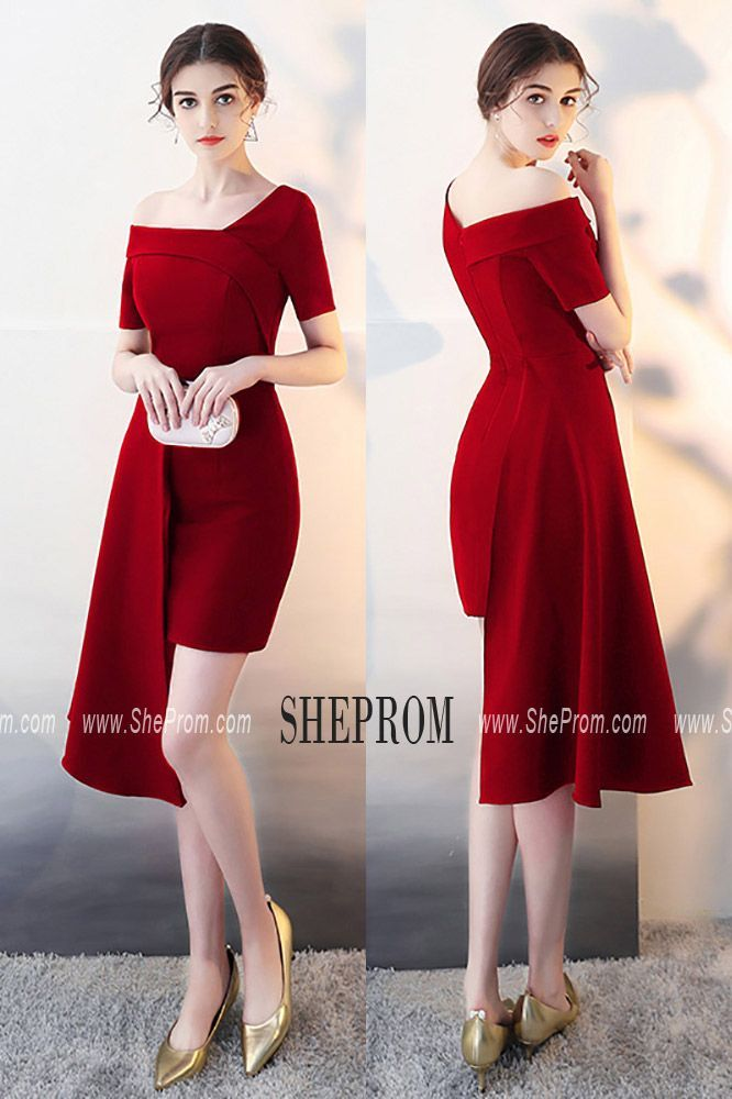 Sale Burgundy Sheath Cocktail Party Dress with Asymmetrical Design HTX86055 at #…