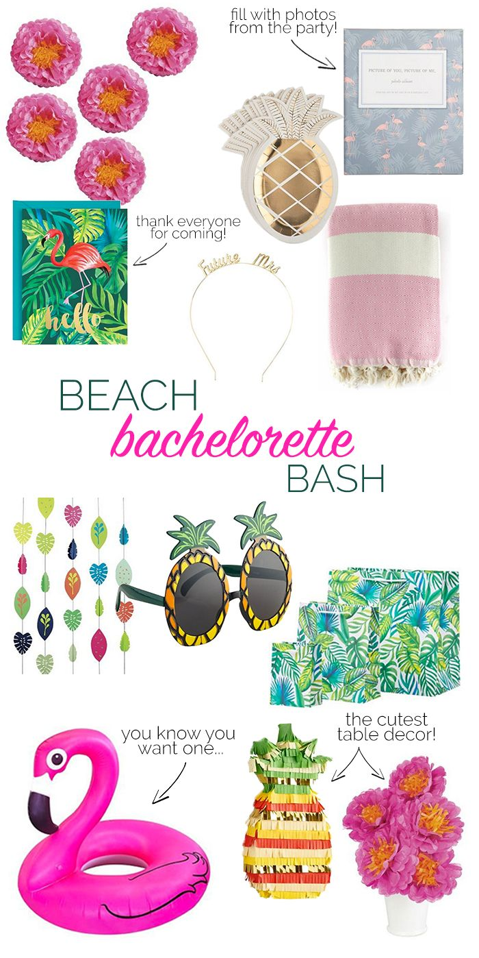 Flamingos and pineapples galore! This tropical beach bachelorette party was SO fun!
