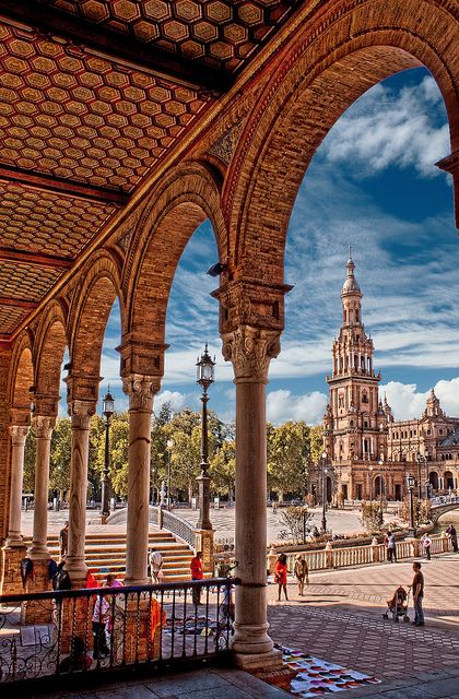 1st visit: 2009. Seville, Spain. La Plaza de Espana, built in 1928. Beautiful.