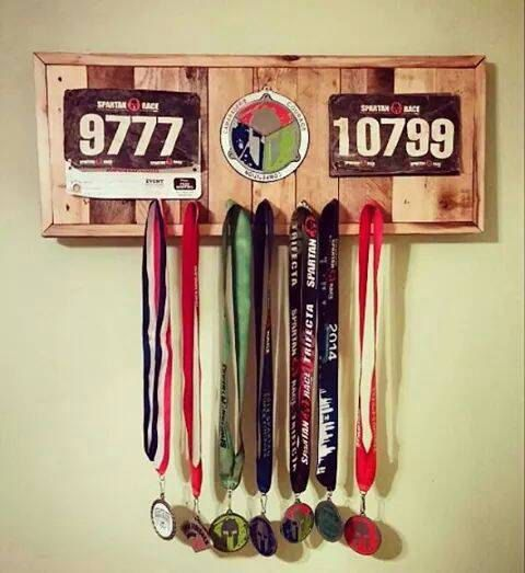 Spartan Race Medal Display With Recessed Spot For by TreeBoneGoods