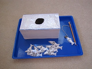 "Eskimo Ice Fishing - I used a bigger box and wrote the words Igloo and Fish on top. They ""caught"" plastic refrigerator magnet letters and spelled the words! FUN game!"