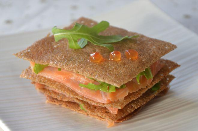 Recette de millefeuille de crêpes sarrasin et saumon très facile à faire et…