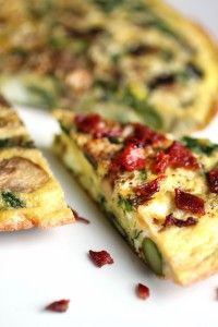 Frittata-With spinach, mushrooms, onions, and asparagus, you can almost two servings of veggies at breakfast alone!