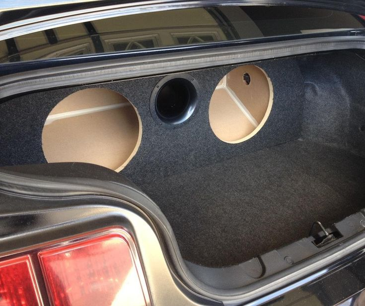"""05-14 Mustang - Custom Ported / Vented Sub Enclosure Box - 2 12"""" Subs. Custom Built Ported Subwoofer Enclosure for a 2005 - 2014 Ford Mustang - Specs: - 3/4"""" and 1/2"""" MDF Construction - 4"""" x 10.5"""" aeroport - tuned to 34hz - Charcoal automotive carpet - Holds 2 round 12"""" subwoofers - 2.2 cubic ft - 9"""" mounting depth - round spring loaded speaker terminal included - sealed air tight w/liquid nails caulk."""