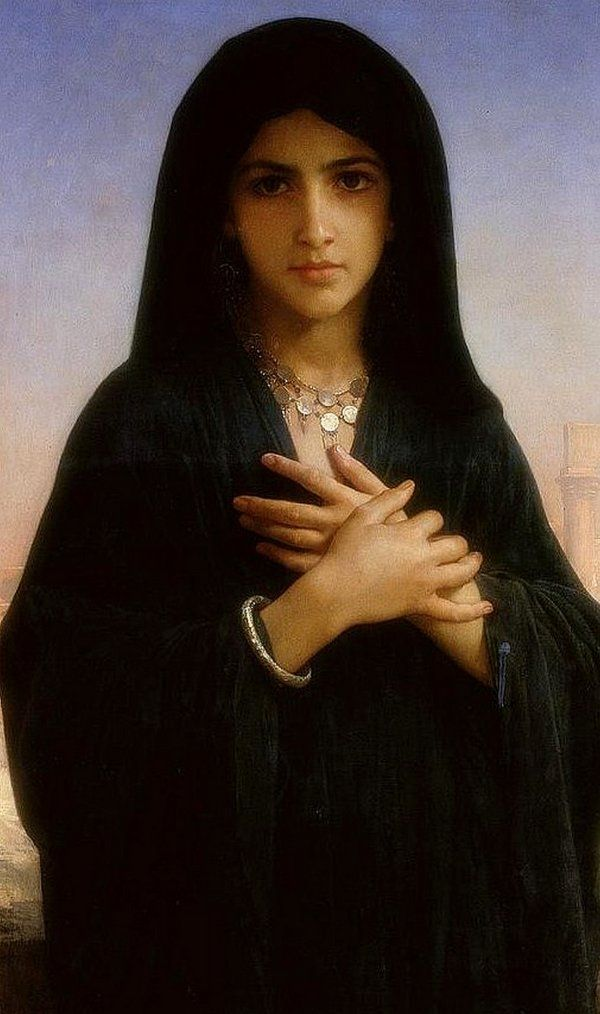 """""""The Penitent"""" by William-Adolphe Bouguereau 1876 - The image was probably meant to suggest Mary Magdalene, who was the best-known penitent woman for Victorian viewers."""