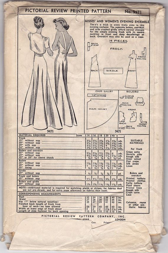 """$150. Pictorial Review No. 9471 (1930s) Special Occasion: Gown, Bolero, Overskirt & Belt are multiple purpose: overskirt is Cape & belt/girdle can be removed completely.  Can make overskirt in sheer lace, make straps skinny? Make out of novelty beaded or sequined fabric for Oscar-worthy dress.  40""""bust, 34""""waist, 43"""" hip. 14-pc. pattern: Dress center seam front & back. Overskirt 1 pc. except for tie/string."""