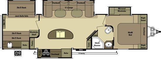 New 2015 Open Range Roamer 310BHS 4 Slide Bunkhouse Travel Trailer Nice kitchen w/ island, large sofa / dinette, master wardrobe, two top bunks - one w/ sofa under, and one with dinette under.  Outdoor kitchen NO outside door to bath.