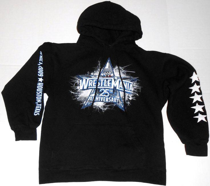 WRESTLEMANIA 25 Black Zip Hoodie S SMALL WWE Wrestling 25th Anniversary XXV  2009