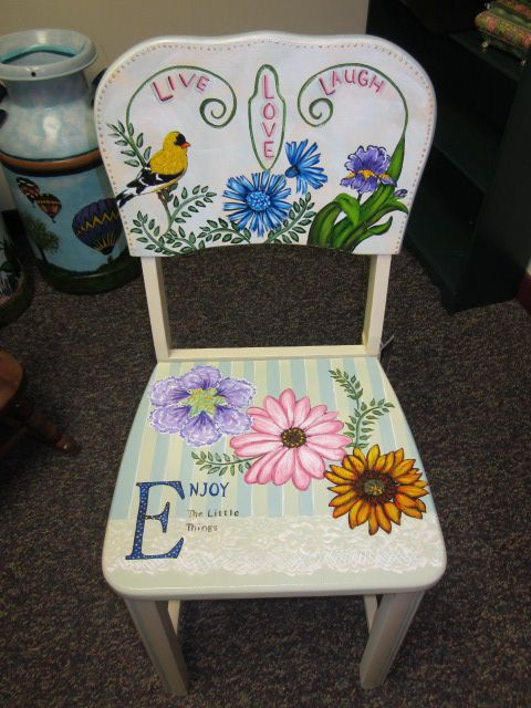 Hand painted chair by Cherie at Studio 213