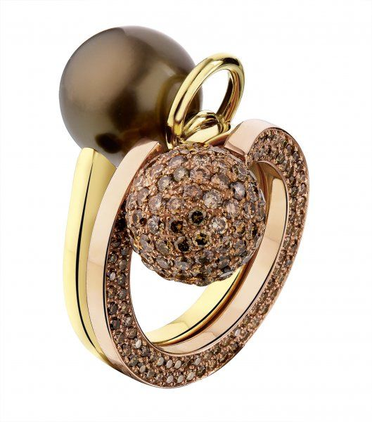 New : Chocolate Diamonds and Natural Pearl Ring | Blouin Boutique | handmade by Werner Aerts |✤