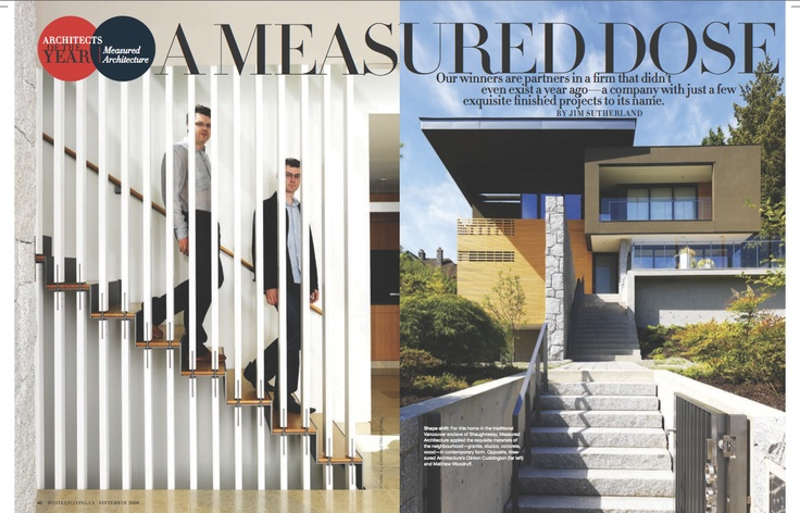 "Silver winner in Homes & Gardens. ""A Measured Dose"" by Martin Tessler published in #Western #Living, 2008."