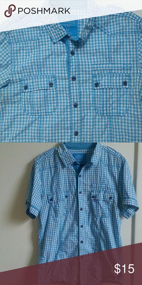 Royal premium baby blue checkered shirt Mens button up casual shirt Shirts Casual Button Down Shirts