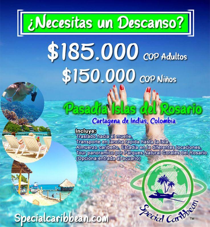Porque trabajas duro todo el año, te tenemos una SUPER promoción, relájate en las paradisíacas islas del rosario, con todo incluido, reserva ya Specialcaribbean.com