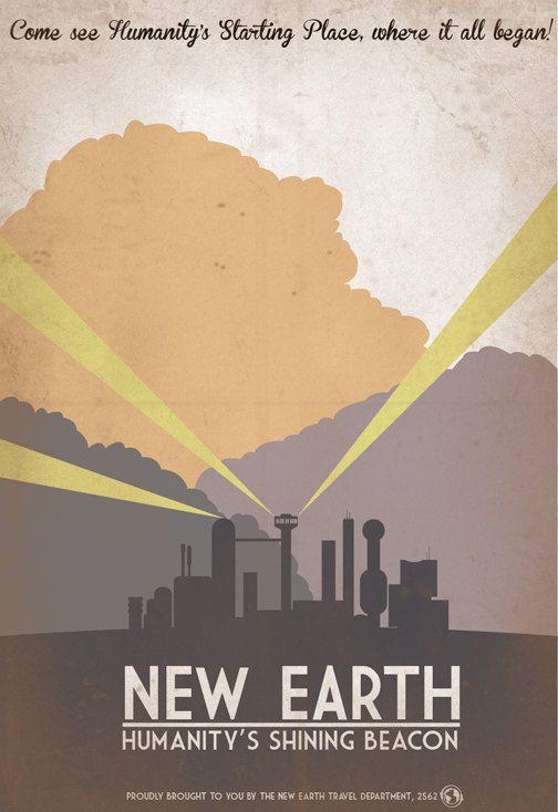 Retro SciFi New Earth Travel Poster 13x19 by IndelibleInkWorkshop