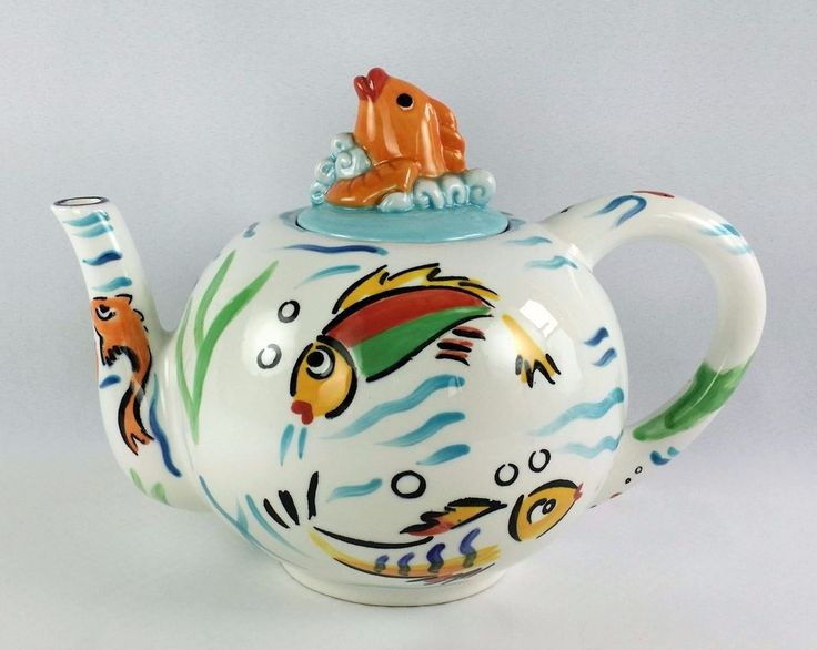 Les Tropiques Tea Pot Hand Painted Ceramic Tropical Fish Aquarium Vintage 8 Cups #StrataGroup