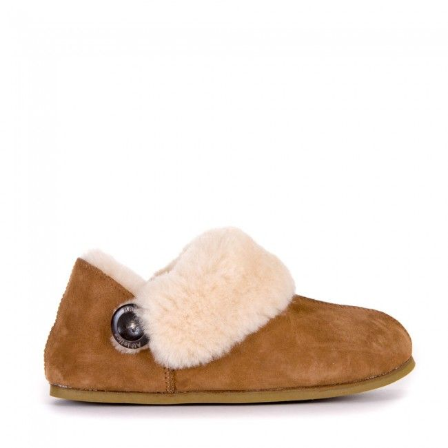Samantha - Sheepskin Slipper Boots - Chestnut - Side