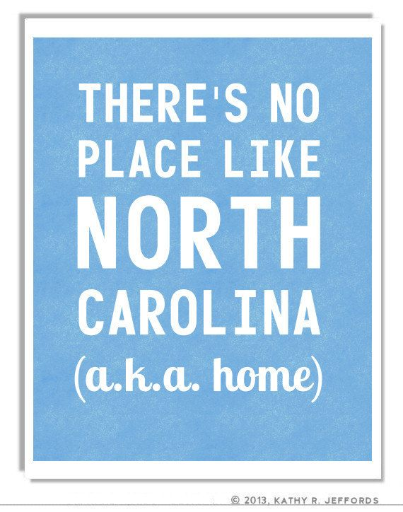 North Carolina Typographic Print. There's No Place Like NC. There's No Place Like Home For Carolina Girls. North Carolina Art. Light Blue.