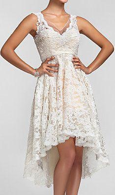 A-line/Princess V-neck Asymmetrical Lace Bridesmaid Dress