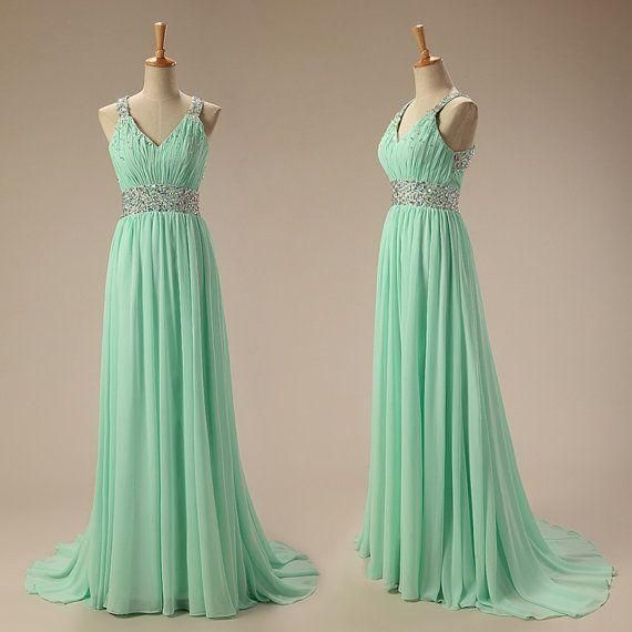 Estelles Prom Dresses Lovely A Line Long Chiffon Mint Green Dresses Prom Beads V Neck Ruched Dress For Party Elegant Beach Prom Gowns Online Shop Lds Prom Dresses From Adminonline, $98.34| Dhgate.Com