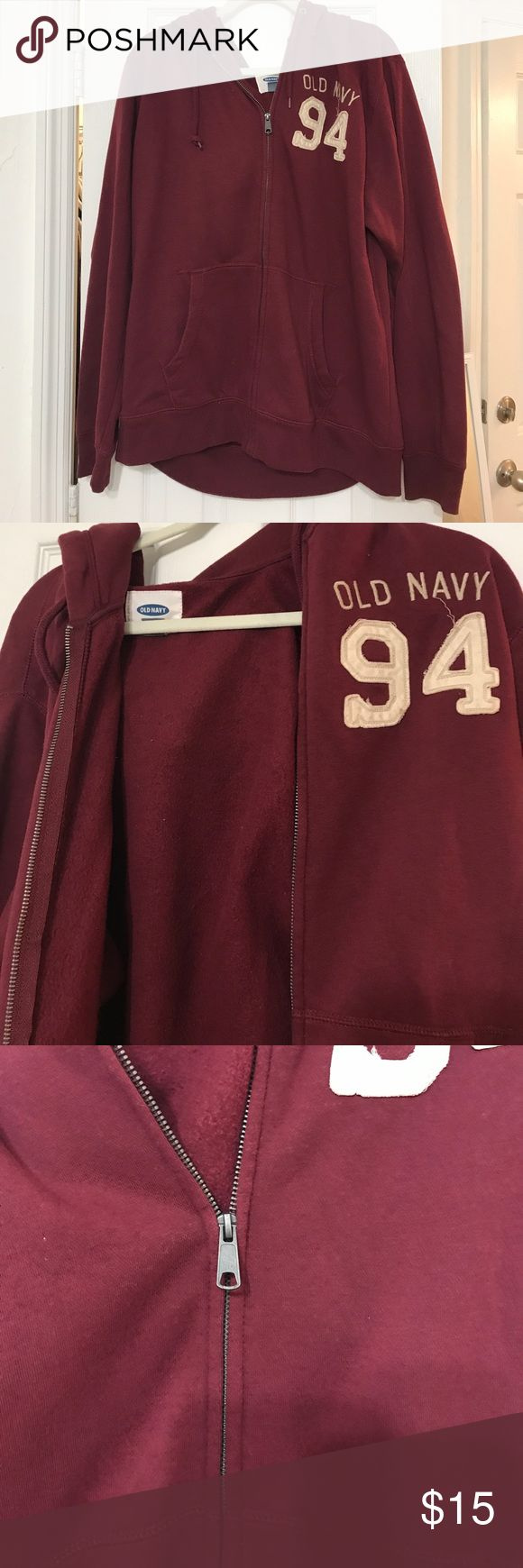 Burgundy Zip Up Hoodie Really soft zip up hoodie with pockets. It's a men's sweatshirt, but really isn't masculine. Worn just a few times. Has dark silver hardware and cream colored embroidery. Old Navy Jackets & Coats