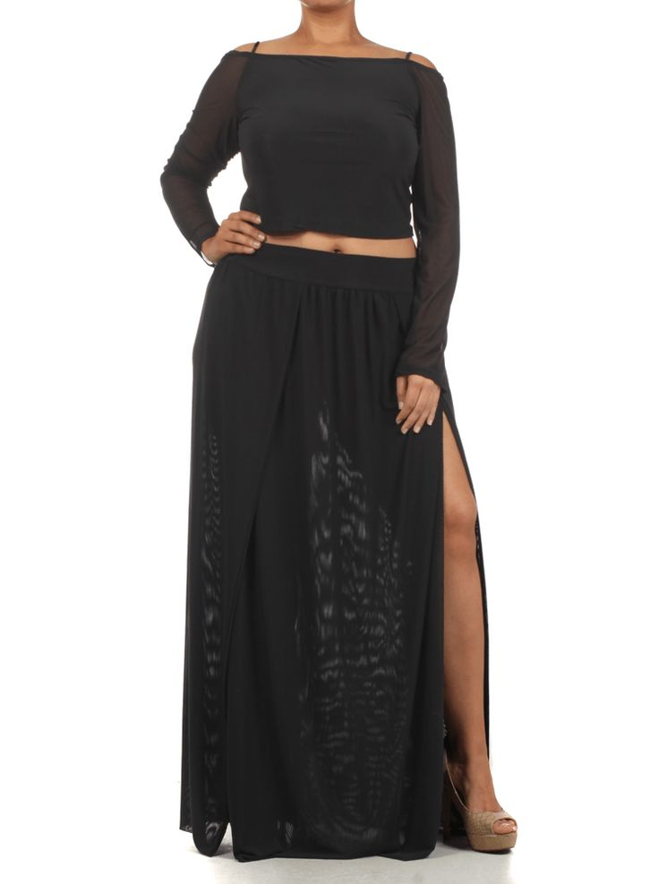 Plus Size Sexy Crop Top Scuba Mesh Black Skirt Set, Plus Size Clothing, Club Wear, Dresses, Tops, Sexy Trendy Plus Size Women Clothes