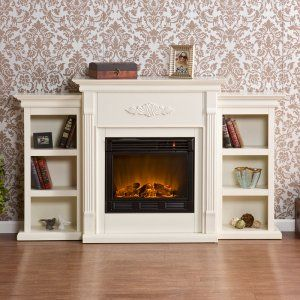 Southern Enterprises Tennyson Ivory Electric Fireplace with Bookcases - Fireplaces at Hayneedle